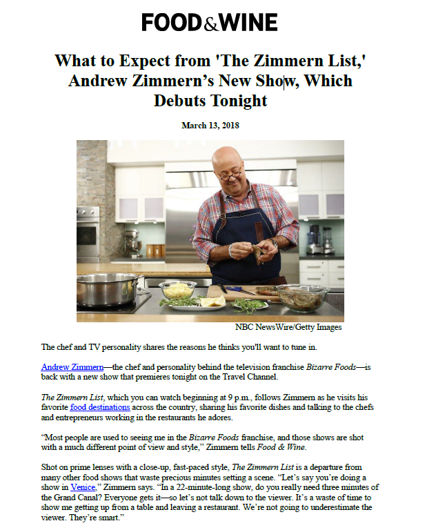 Food & Wine: Andrew Zimmern's 'The Zimmern List' - The
