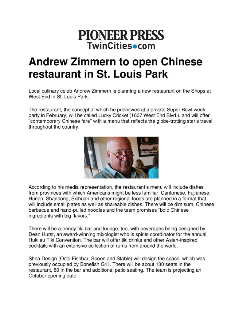 Lucky Cricket Andrew Zimmern To Open Chinese Restaurant In