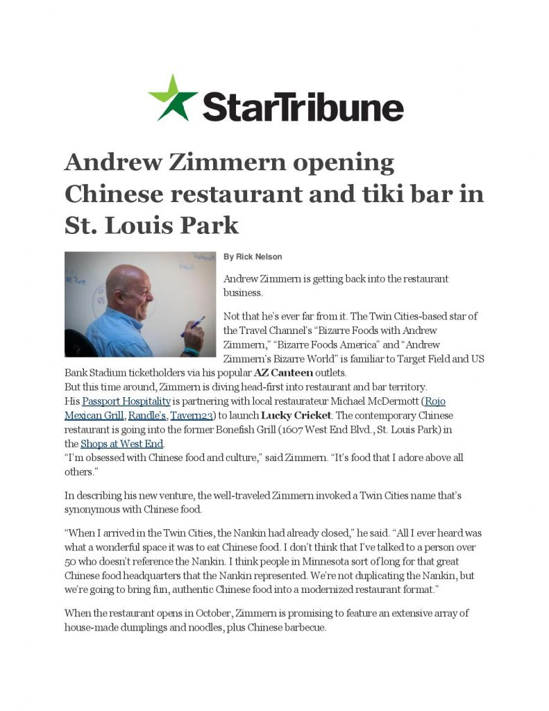 Lucky Cricket Andrew Zimmern Opening Chinese Restaurant And